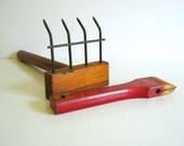 Primitive Garden Rake and Red Devil Scraper / Vintage Tools