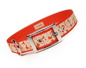 orange hibiscus metal buckle dog collar (1 inch)