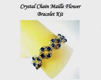 Swarovski Crystal Chain Maille Flower Bracelet Kit with Instructions