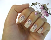 Shabby Very Chic Colorful Laverder Vintage Rose Floral Spray Nail Art Waterslide Miniature Water Decals - fw-045