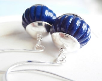 Beaded Earrings - Vintage Lucite Earrings - Blue Moon
