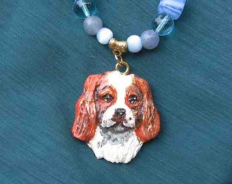 CAVALIER KING CHARLES Clay Dog Head Necklace Features Aventurine, Freshwater Pearls & Glass Beads