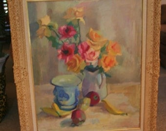 Marvelous Impressionist ROSES & FRUIT Table Top Still Life Oil Painting