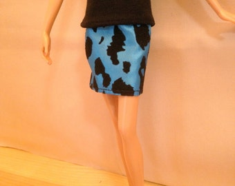 Barbie Clothes Handmade - Barbie Animal Print Skirt Only - Mix n Match (G919)