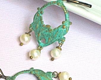 Chandelier Hoop Earrings - Verdigris, Pearl, Floral