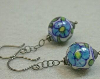 Vintage Italian Porcelain Dangle Bead Earrings -Blue Yellow Purple Flower, Handmade Oxidized Sterling Silver Chain,Sterling Silver Ear Wires