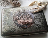Nautical Clipper Ship Etched Wallet / Cigarette Case in Victorian Filigree Metal -- Acid Bath Series