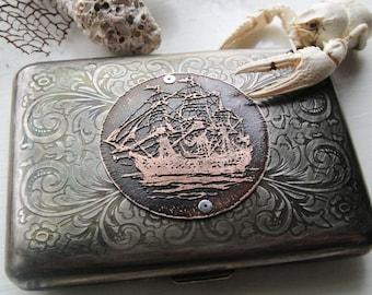 Nautical Clipper Ship Etched Wallet / Cigarette Case in Victorian Filigree Metal -- Acid Bath Series