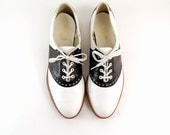 Vtg 70s Flat Tuxedo Wingtip Oxford Black and White Saddle Booties womens 7 - Ambercityvintage