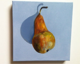 Juicy pear / Original acrylic painting / Still life  vintage painting - wall art- wall decor- home decor - black and white painting
