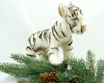 Needle Felted Soft Sculpture Animal White Tiger