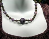 Periwinkle Sea Shells Lavender Collar Necklace Antique Brass Charming One of a Kind