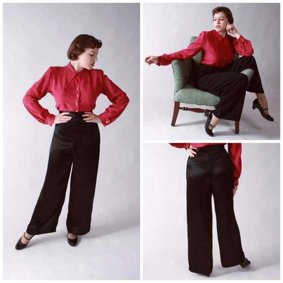 LAST CHANCE Vintage 1940s Pants - Shiny Rayon Charmeuse High Waisted Pants