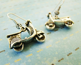 Scooter Earrings, Tibetan Silver Earrings, Fun Earrings