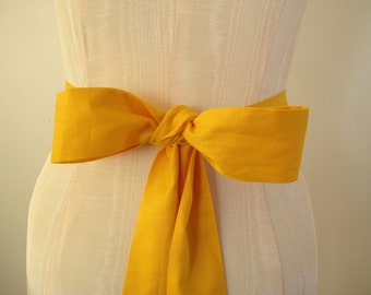 Yellow Orange Gold Cotton Sash Wedding Sash Bridal Sash Bridesmaid Sashes - custom length - made to order