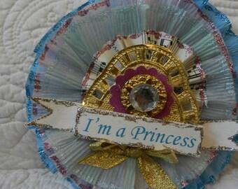 Crepe Paper Prize Ribbon Medallion I'm a Princess Pink & Blue