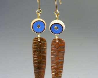 Blue Enamel, white bone and textured copper dangle earrings, Rustic Primitive copper pendant earrings with Blue and white accents