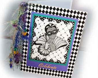 CARD - Zentangle Handmade OOAK - Celebrate, Mardi Gras, Party, Argyle, Purple, Green, Yellow, Black Check, Doodles