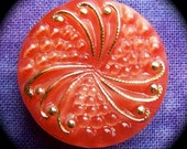 PAiR Czech Glass Buttons 22mm - 7/8 inch Radiant Crimson Red Swirlsicle - 2 MoonGlow Glass Buttons with Gold Luster Faceted Gems GL20