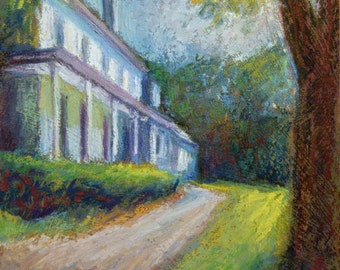 Farmhouse Painting, 7 x 9 Original Oil Pastel Painting, Sunlit Afternoon II by Bethany Bryant