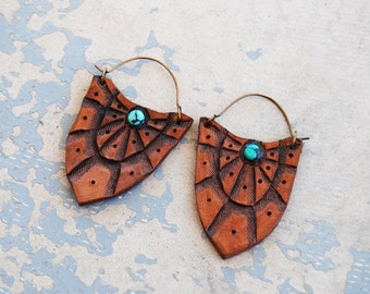 Tooled Leather Blade Earrings - Turquoise Tribal Spiderweb Earrings - Custom Made to Order