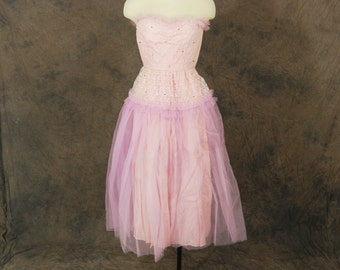 vintage 40s Party Dress - Pink Lace and Tulle Ball Gown - 1940s Strapless Formal Dress Sz XS XXS