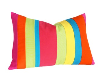Color Block Pillows, Colorful Kids Pillow, Bright Stripes, Striped, Nursery Cushions, Eco Chic, Unique Pillow Covers, Oblong Lumbar 14x20