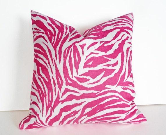 Pink Zebra Print Decorative Pillows : Pink Zebra Pillows Animal Print Pink White by PillowThrowDecor
