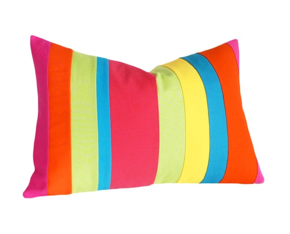 Bright Neon Pillows, Color Banded Throw Pillow, , Spring Stripes, Striped, Color Block, Eco Chic, Oblong Lumbar 14x20