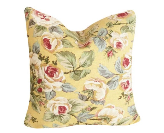 Pale Yellow Throw Pillow Cover : Pale Yellow Pillows Floral Pillow Covers by PillowThrowDecor