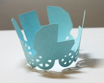 Baby Carriage Cupcake Wrappers -- Set of 12