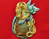 Reserved Jasper and Polymer Clay Dragon  Blue