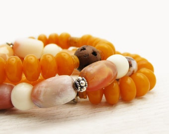 Amber Opal Boho Bracelet Set / Mexican Fire Opal and Baltic Amber in Sterling Silver / honey gold orange white peach cream tribal bracelets