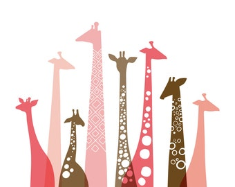 "20X16"" giraffe silhouettes landscape giclee print on fine art paper. pink and brown."