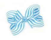 Blue and White Boutique Bow, Bright Blue Striped Bow, 3 inch Hair Bow, Preppy, Candy Striped, Taffy Stripe Baby Toddler Girls - MySweetieBean