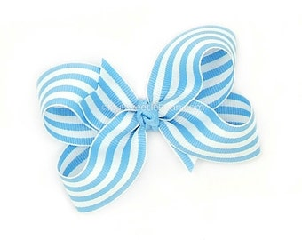 Blue and White Boutique Bow, Bright Blue Striped Bow, 3 inch Hair Bow, Preppy, Candy Striped, Taffy Stripe Baby Toddler Girls