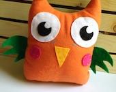 Cheeky Orange Felt Owl Plush Pillow Toy- Handmade