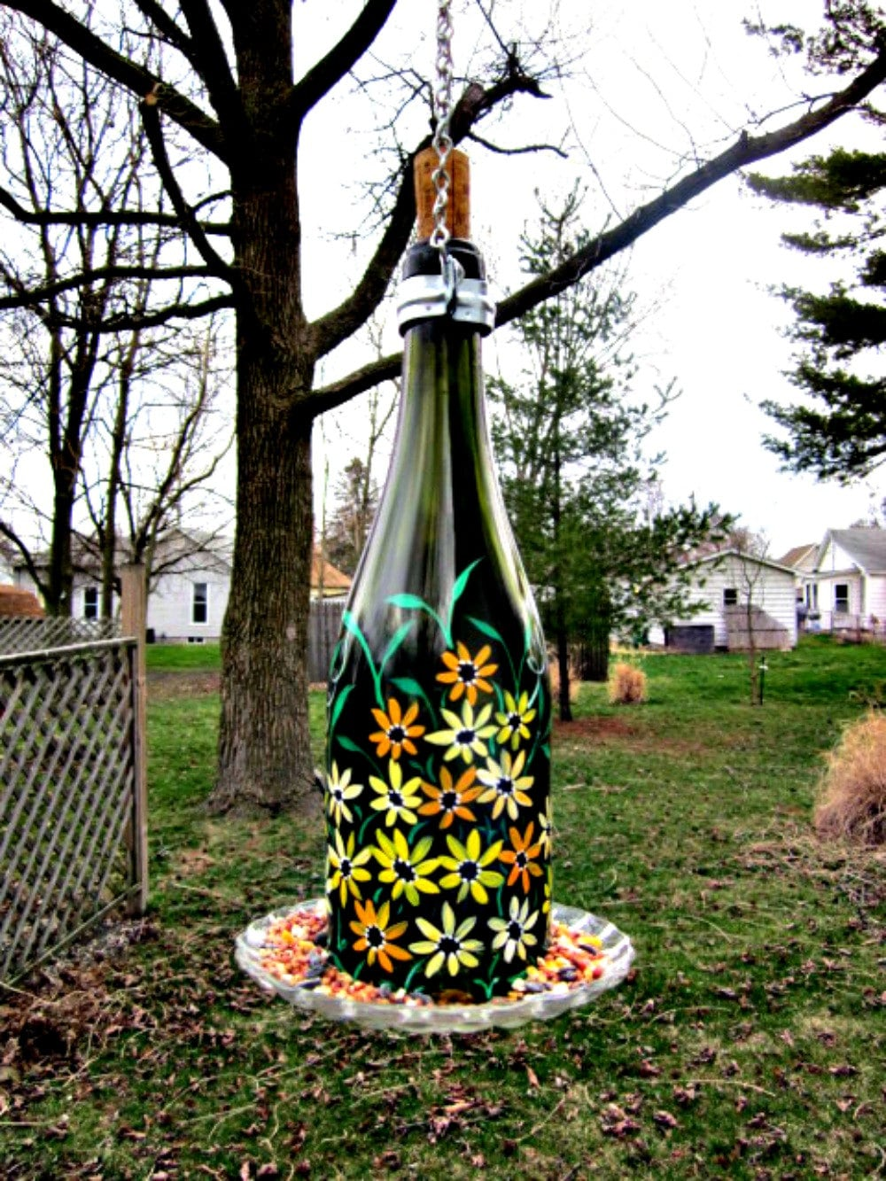 Wine bottle bird feeder recycled green wine by glassgaloregal for How to make birdhouses out of plastic bottles