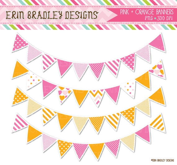 Pink & Orange Bunting Clip Art Graphics by ErinBradleyDesigns