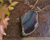 reserved for StregaDelCarso - Earth Amulet necklace with Green Agate - handsculpted - Elemental - Handmade jewelry sculpt