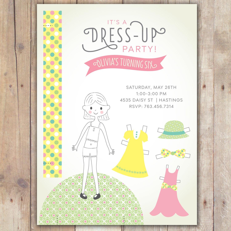Paper Doll Dress Up Party Custom DIGITAL Birthday Invitation – Dress Up Party Invitations