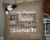 Personalized BURLAP PILLOW Browns - Wedding Gift with widding Date - Names - Time - Location Subway Typography Art