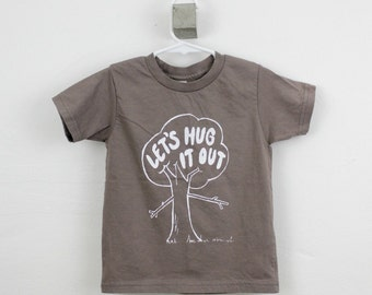 Organic toddler t-shirt, tree hugger, screen printed,  2T 4T 6T, hipster kid, unisex kid's clothing, funny toddler gift