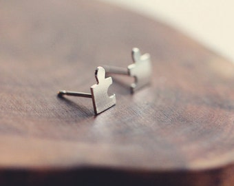 Tiny Jigsaw post earrings in sterling silver
