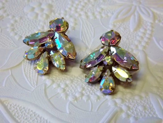 vintage weiss clip earrings bridal wedding costume jewelry