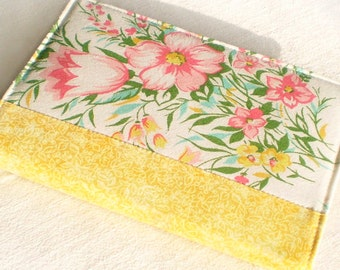 Fabric Journal Cover - Yellow Spring - Fabric Cover A6 Notebook, Diary - Pink, Green, White Flowers and Tulips