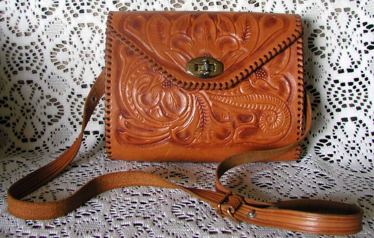 Vintage Hand Tooled Leather Purse By Thevintagehandbag On Etsy