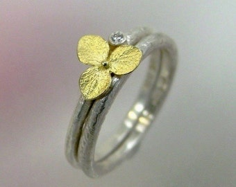 Wedding Ring Set, Diamond Engagement Ring, Hydrangea Ring, Matching Wedding Band, Sterling Silver, 18k Gold, Made to order