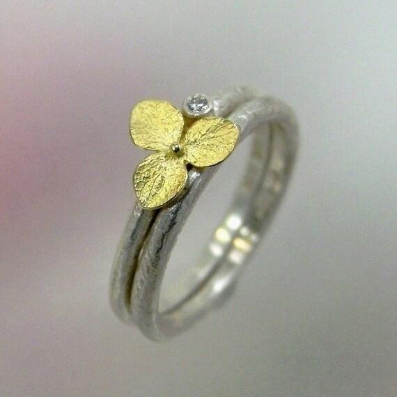 Wedding ring set diamond engagement ring hydrangea ring for Wedding band engagement ring order