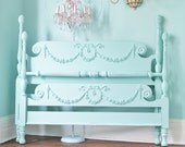 50 %balance due custom order antique shabby chic aqua blue bed frame full beach coastal cottage prairie swags roses bows 4 post OMG
